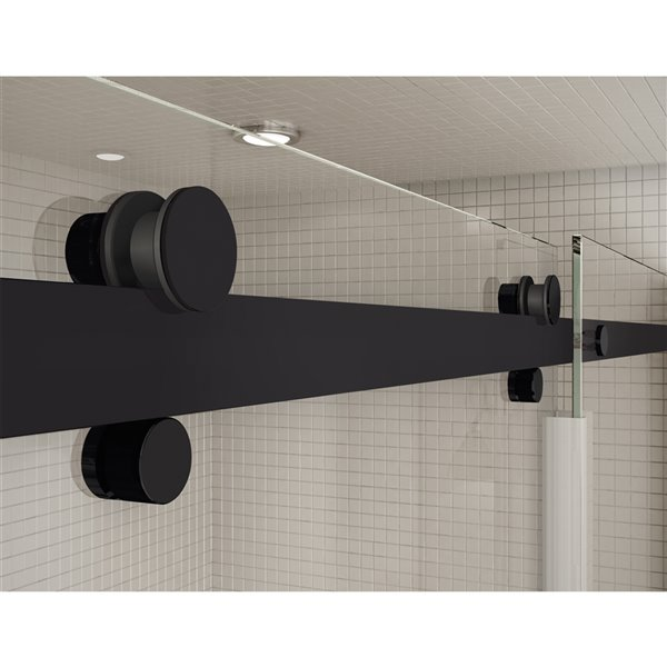 Utile by MAAX Metro Soft Grey Tub Shower Kit, Left Drain, Halo Matte Black - 60-in x 32-in x 81-in
