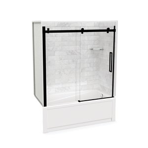 Utile by MAAX Marble Carrara Tub Shower Kit, Right Drain, Halo Matte Black - 60-in x 32-in x 81-in