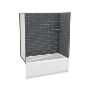 Utile by MAAX Metro Thunder Grey Tub Shower Kit, Right Drain - 60-in x 32-in x 81-in