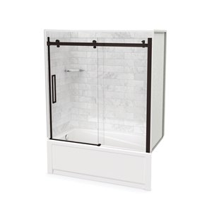 Utile by MAAX Marble Carrara Tub Shower Kit, Left Drain, Halo Dark Bronze - 60-in x 32-in x 81-in
