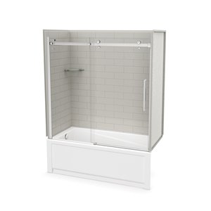 Utile by MAAX Metro Soft Grey Tub Shower Kit, Left Drain, Halo Chrome - 60-in x 32-in x 81-in