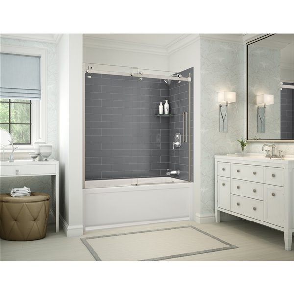 Utile by MAAX Metro Thunder Grey TubShower Kit, Right Drain Halo Brushed Nickel - 60x32x81in