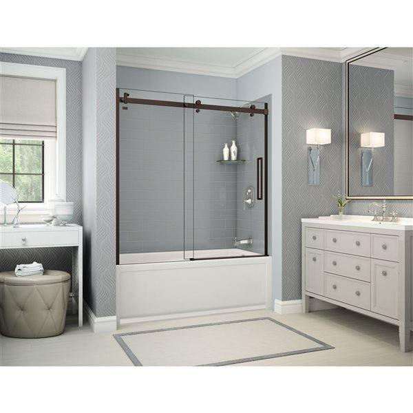 Utile by MAAX Metro Ash Grey Tub Shower Kit, Right Drain, Halo Dark Bronze - 60-in x 32-in x 81-in