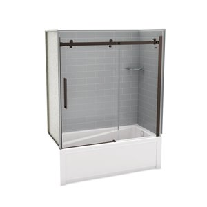 Utile by MAAX Metro Ash Grey Tub Shower Kit, Right Drain, Halo Dark Bronze - 60-in x 32-in x 81-in