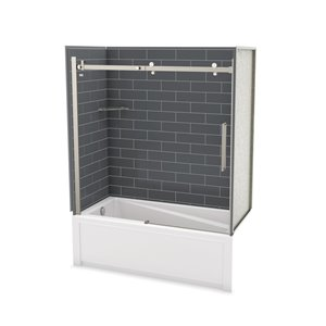 Utile by MAAX Metro Thunder Grey Tub Shower Kit, Left Drain Halo Brushed Nickel - 60-in x 32-in x 81-in