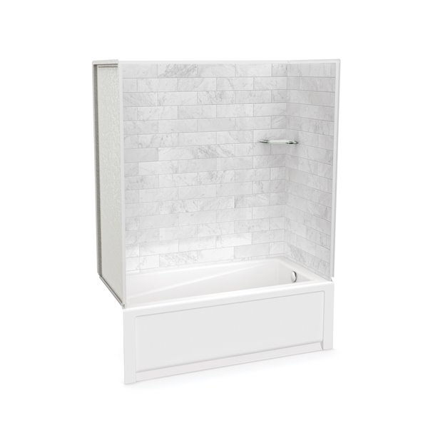 Utile by MAAX Marble Carrara Tub Shower Kit, Right Drain - 60-in x 32-in x 81-in