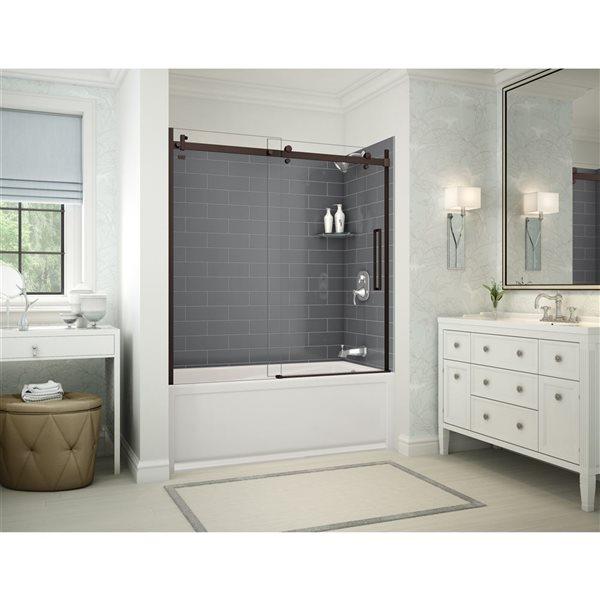 Utile by MAAX Metro Thunder Grey Tub Shower Kit, Right Drain, Halo Dark Bronze - 60-in x 32-in x 81-in