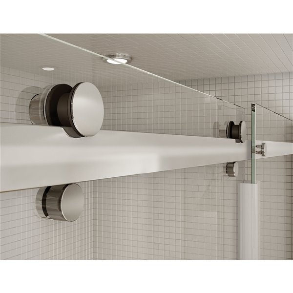 Utile by MAAX Marble Carrara Tub Shower Kit, Left Drain, Halo Chrome - 60-in x 32-in x 81-in