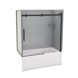 Utile by MAAX Metro Ash Grey Tub Shower Kit, Right Drain, Halo Matte Black - 60-in x 32-in x 81-in