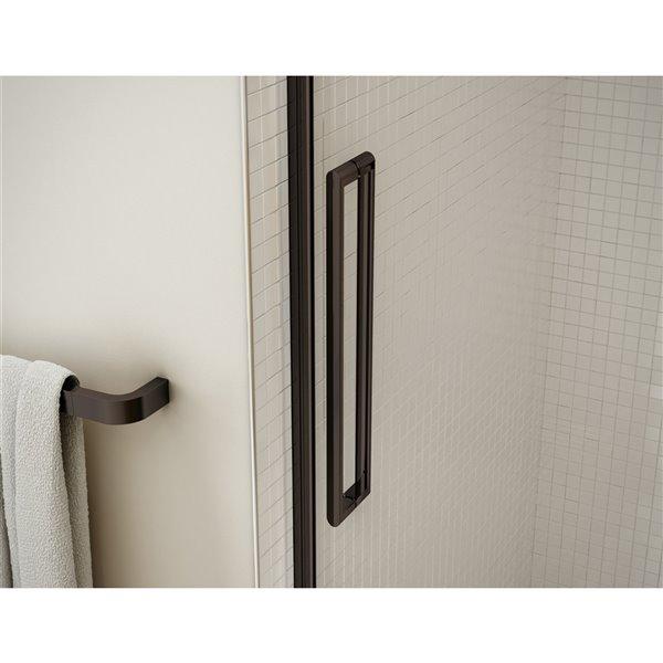 Utile by MAAX Metro Ash Grey Tub Shower Kit, Left Drain, Halo Dark Bronze - 60-in x 32-in x 81-in