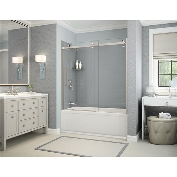 Utile by MAAX Metro Ash Grey Tub Shower Kit, Left Drain, Halo Brushed Nickel - 60-in x 32-in x 81-in