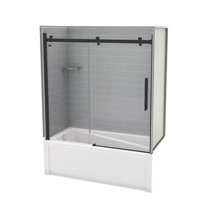 Utile by MAAX Metro Ash Grey Tub Shower Kit, Left Drain, Halo Matte Black - 60-in x 32-in x 81-in