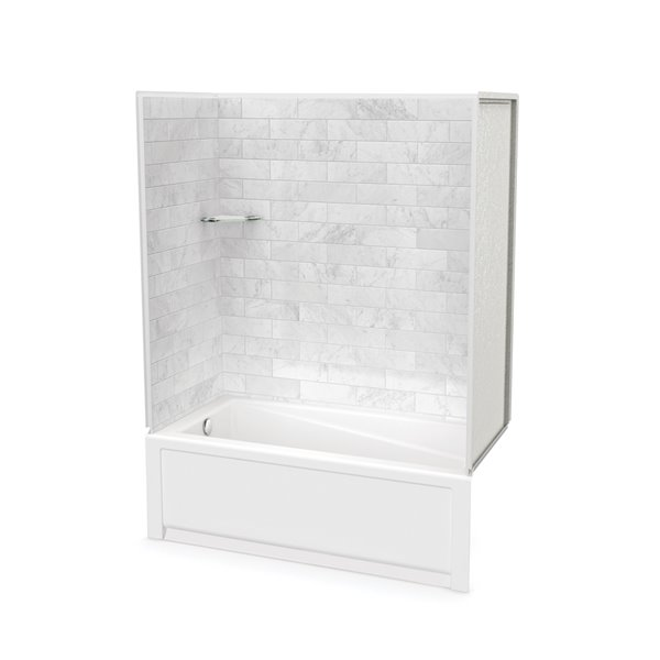 Utile by MAAX Marble Carrara Tub Shower Kit, Left Drain - 60-in x 32-in x 81-in