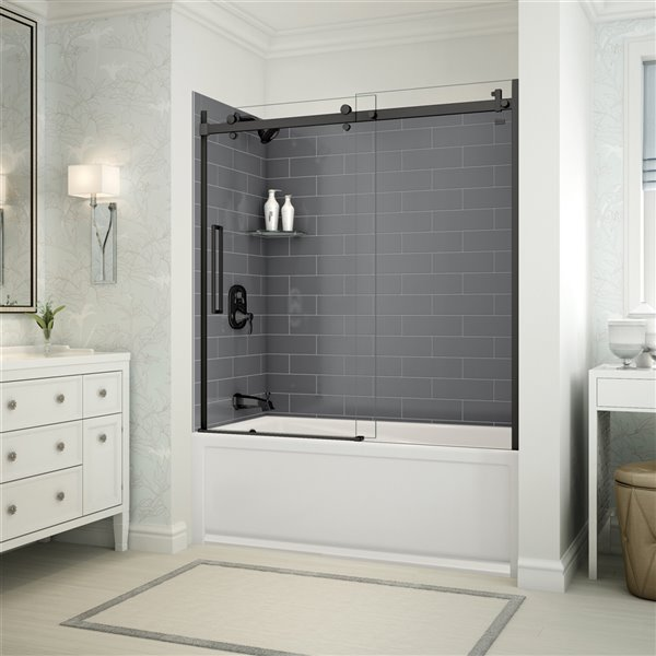 Utile by MAAX Metro Thunder Grey Tub Shower Kit, Left Drain, Halo Matte Black - 60-in x 32-in x 81-in