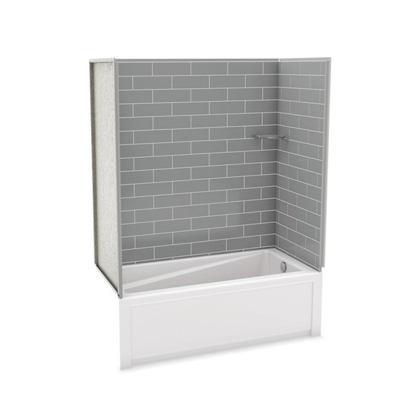 Utile by MAAX Metro Ash Grey Tub Shower Kit, Right Drain - 60-in x 32-in x 81-in
