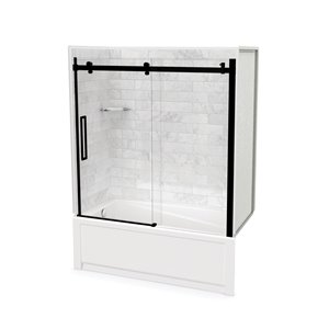 Utile by MAAX Marble Carrara Tub Shower Kit, Left Drain, Halo Matte Black - 60-in x 32-in x 81-in