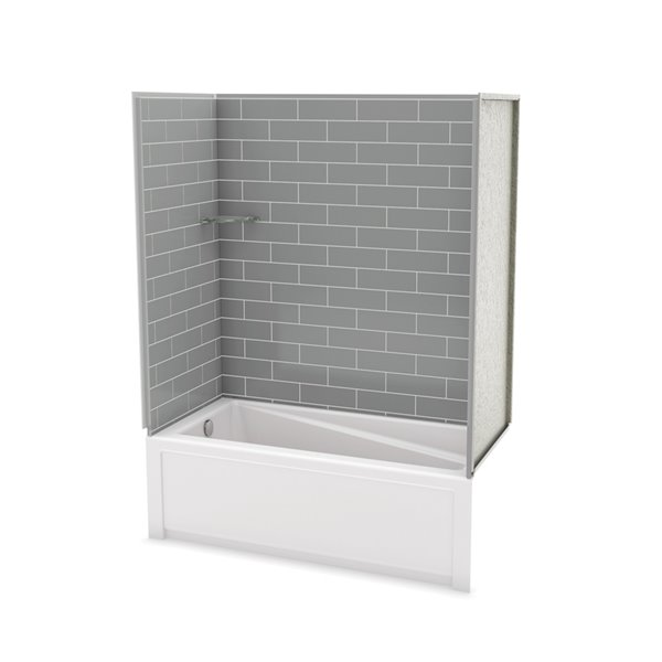 Utile by MAAX Metro Ash Grey Tub Shower Kit, Left Drain - 60-in x 32-in x 81-in