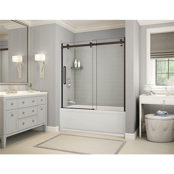 Utile by MAAX Metro Soft Grey Tub Shower Kit, Left Drain, Halo Dark Bronze - 60-in x 32-in x 81-in