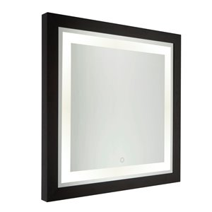Miroir à éclairage DEL Valet SC13109 d'Artcraft Lighting, 30 po x 30 po, noir mat