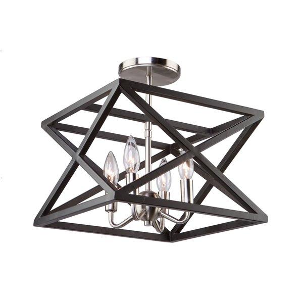Artcraft Lighting Elements AC11044 Semi-Flush Mount Light - 4-Light - Black/Polished Nickel