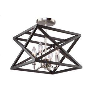 Semi-plafonnier Elements AC11044 d'Artcraft Lighting, 4 lumières, noir/nickel poli