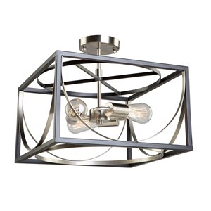 Semi-plafonnier Corona CL15093 d'Artcraft Lighting, 3 lumières, noir/nickel poli