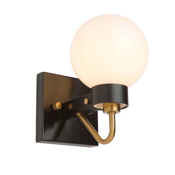 Artcraft Lighting Chelton AC11421WH 1-Bulb Wall Light - 8.5-in - Matte Black/Harvest Brass