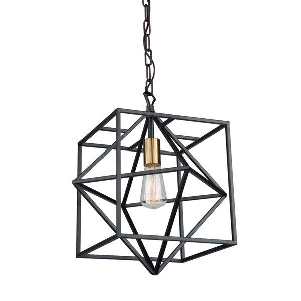 Artcraft Lighting Roxton AC11201 1-Light Pendant - 15-in x 17-in - Matte Black/Harvest Brass