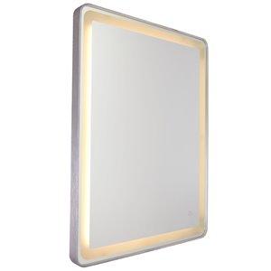 Miroir à éclairage DEL Reflections AM301 d'Artcraft Lighting, 24 po x 32 po, aluminium brossé