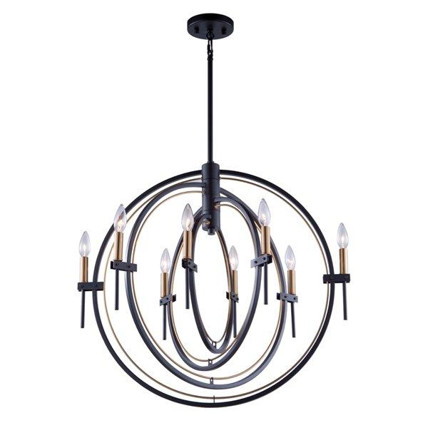 Artcraft Lighting Anglesey AC11458 8-Light Chandelier - 28-in x 26.5-in - Matte Black/Harvest Brass