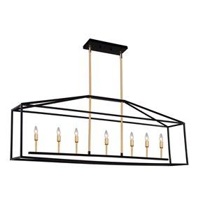 Artcraft Lighting Twilight SC13077 Kitchen Island Light - 7 -Light - Matte Black/Harvest Brass