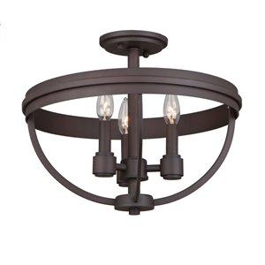 Semi-plafonnier Roxbury AC10693OB d'Artcraft Lighting, 3 lumières, bronze