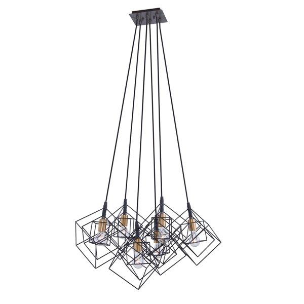 Artcraft Lighting Artistry AC11119 6-Light Chandelier - 27.75-in x 19.25-in - Matte Black/Harvest Brass