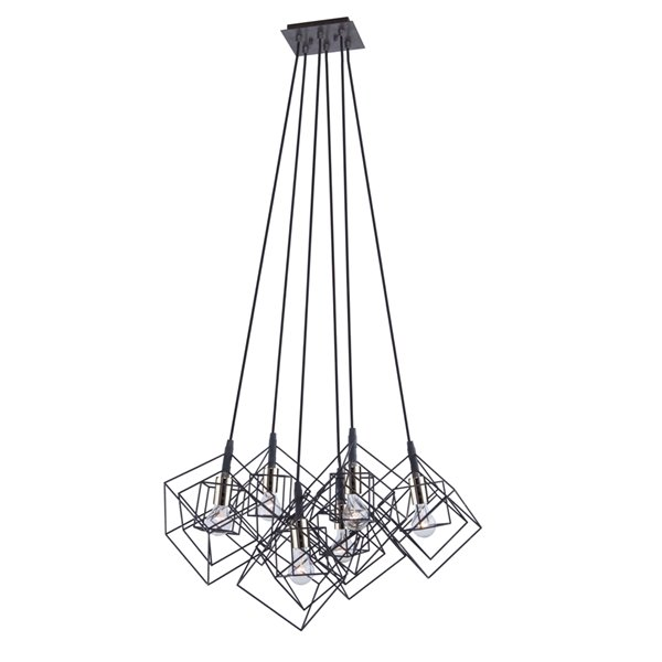 Artcraft Lighting Artistry AC11119PN 6-Light Chandelier - 27.75-in x 19.25-in - Matte Black/Polished Nickel