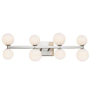 Luminaire de salle de bain à 8 lumières Hadleigh AC6618 d'Artcraft Lighting, 28 po x 5,25 po x 8 po, nickel brossé