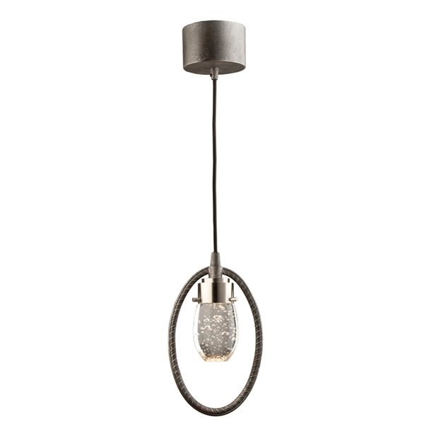 Artcraft Lighting Kingsford AC7451 1-Light Pendant - 2.7-in x 9.5-in - Slate/Brushed Nickel