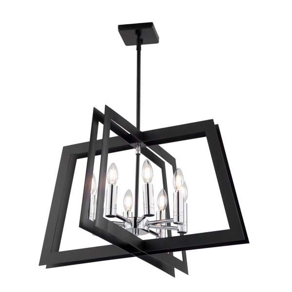 Artcraft Lighting Carlton AC11378 8-Light Chandelier - 26-in x 15-in - Matte Black/Polished Nickel