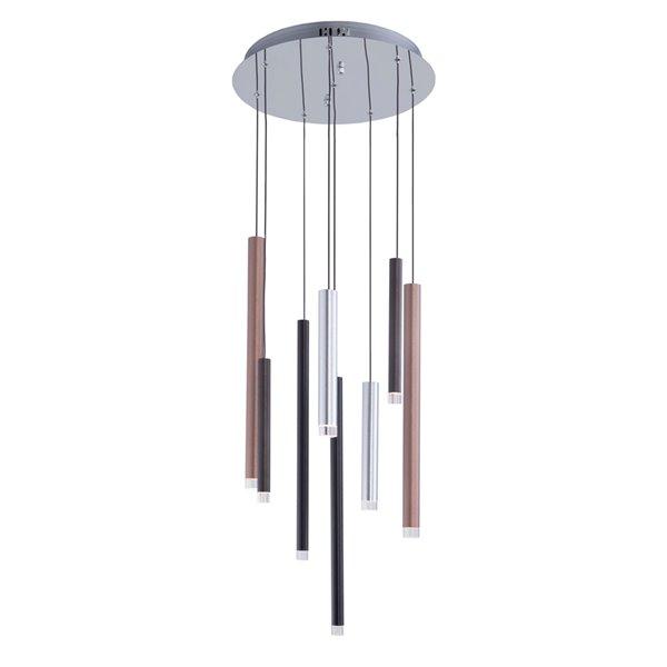Chandelier à 8 lumières Galiano AC7088MU d'Artcraft Lighting, 15,75 po x 20 po, noir/cuivre/aluminium satiné