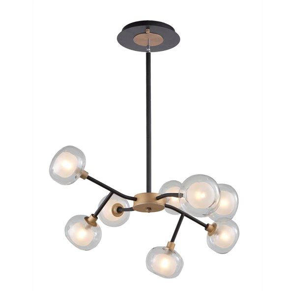 Chandelier à 8 lumières Grappolo AC7008BG d'Artcraft Lighting, 27,5 po x 14 po, noir mat/or vintage