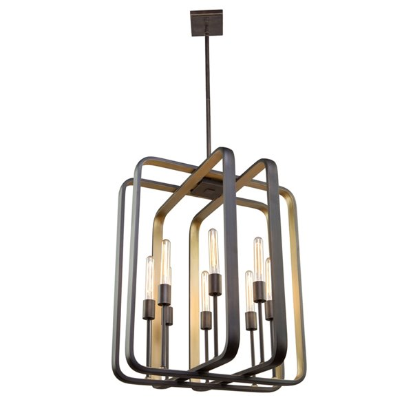 Artcraft Lighting Marlborough AC11082 4-Light Pendant - 16-in x 20-in - Oil Rubbed Bronze/Gold Leaf