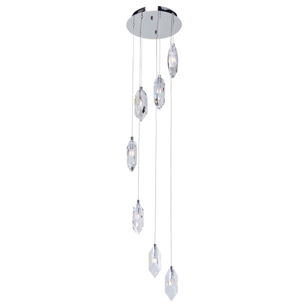 Artcraft Lighting Doccia AC7047 7-Light Chandelier - 12-in x 95-in - Chrome