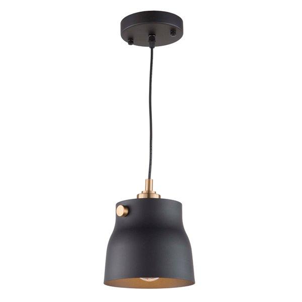 Artcraft Lighting Euro Industrial AC11361VB 1-Light Pendant - 6.25-in x 7-in - Matte Black/Harvest Brass