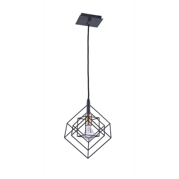 Artcraft Lighting Artistry AC11117 1-Light Pendant - 9.75-in x 11.25-in - Matte Black/Harvest Brass