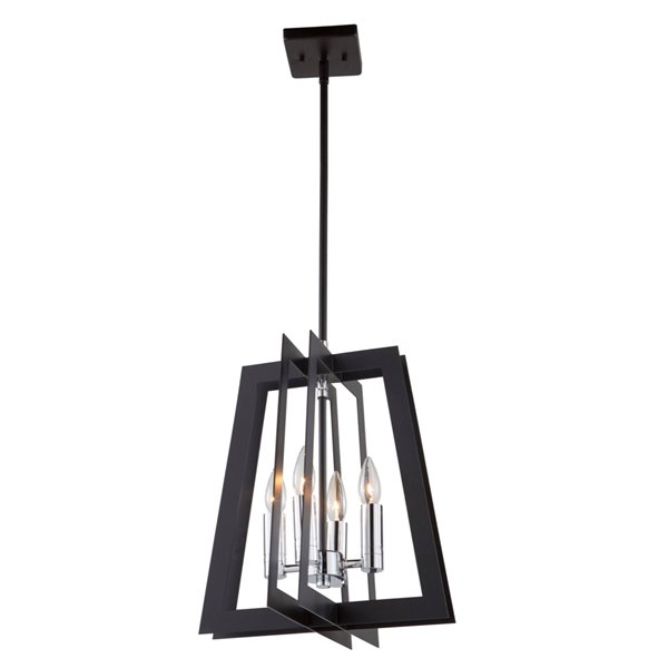 Artcraft Lighting Carlton AC11374 4-Light Chandelier - 14-in x 15.5-in - Matte Black/Polished Nickel