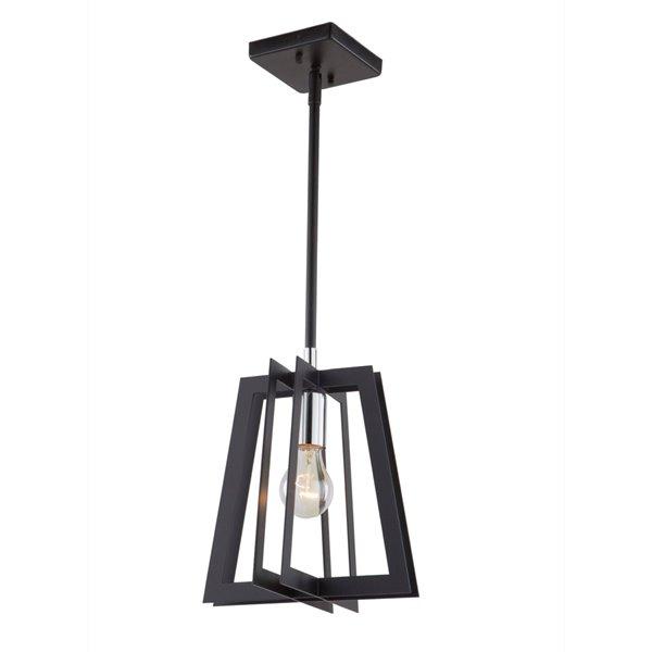 Artcraft Lighting Carlton AC11370 1-Light Pendant - 9.5-in x 10-in - Matte Black/Polished Nickel