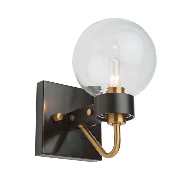 Artcraft Lighting Chelton AC11421CL 1-Bulb Wall Light - 8.5-in - Matte Black/Harvest Brass