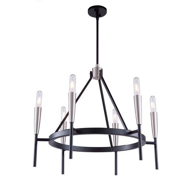 Chandelier à 6 lumières Flute AC11416 d'Artcraft Lighting, 28 po x 19 po, noir mat/nickel satiné