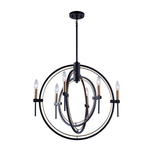 Artcraft Lighting Anglesey AC11456 6-Light Chandelier - 25-in x 23-in - Matte Black/Harvest Brass