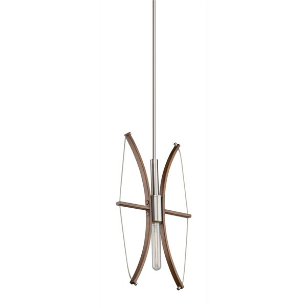 Artcraft Lighting Arco AC11481 1-Light Pendant - 12-in x 20-in - Faux Wood/Brushed Nickel