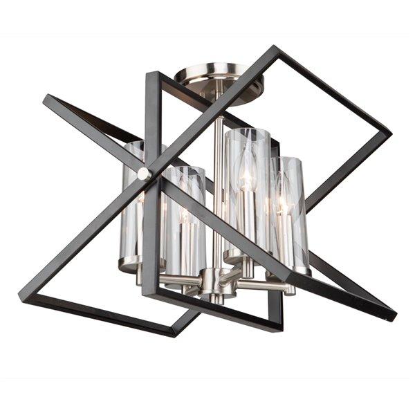 Semi-plafonnier Vissini AC11471 d'Artcraft Lighting, 4 lumières, noir mat/nickel poli